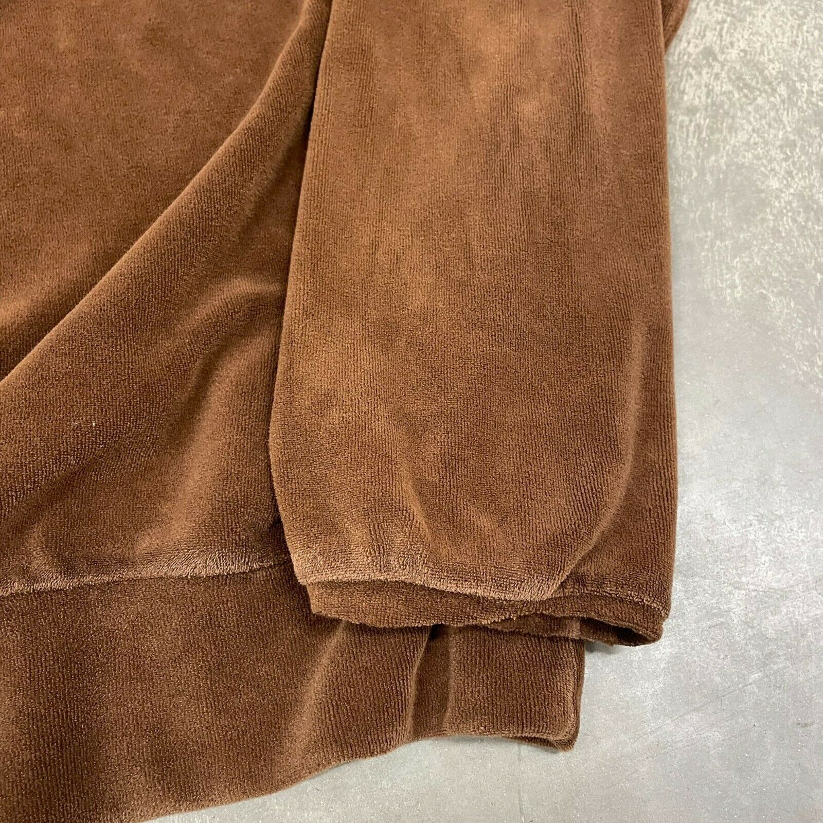 70s VTG Brown Velour Polo Pullover Sweater Cool X… - image 5