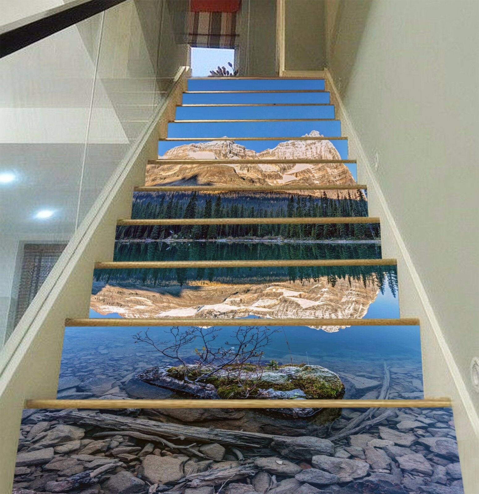 3D Sky Lake clouds Stair Risers Decoration Photo Mural Vinyl Decal Wallpaper AU
