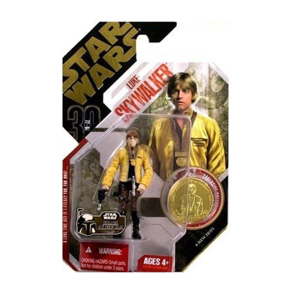 Hasbro Star Wars Revenge of the Sith Luke Skywalker Action Figure gold Coin NEW