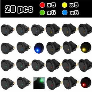 20PCS-Led-Dot-Light-12V-Car-Auto-Boat-Round-Rocker-ON-OFF-Toggle-SPST-Switch-New