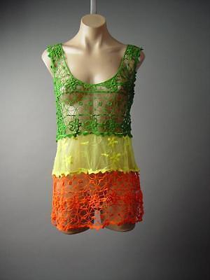 Island Beach Hippie 70s Crochet Doily Lace Sheer Cover Up Tank Top 132 mv Shirt