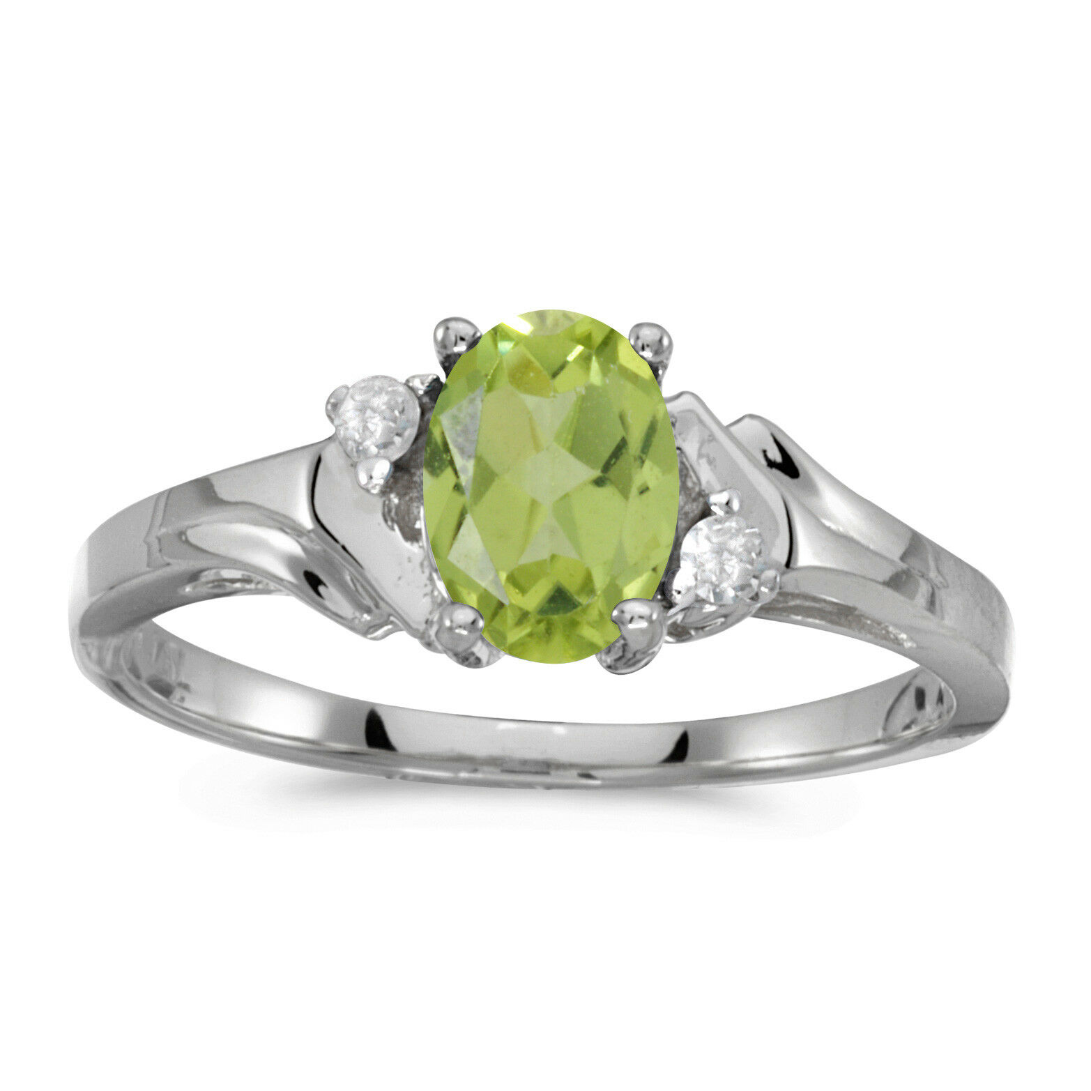 14k White gold Oval Peridot And Diamond Ring
