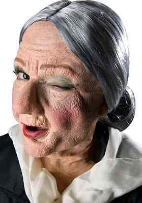 Granny Old Woman Face Mask Fancy Dress Halloween Costume Makeup Latex Prosthetic