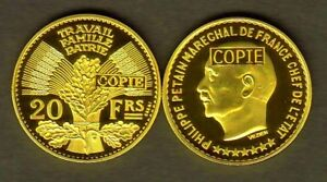 JOLIE-COPIE-PLAQUEE-OR-DE-L-039-ESSAI-HYBRIDE-DE-LA-20-FRANCS-1941-PETAIN