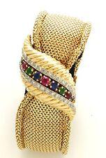 Ladies 18K Diamond, Ruby, Emerald & Sapphire Jaeger Le Coultre Bracelet Watch