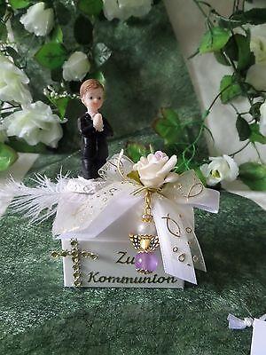 Bomboniere Gastgeschenk-Truhe+Schutzengel lila//flieder//gold Hochzeit-Taufe