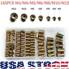 New Listing165pcs Rivet Nut Kit Mixed Zinc Steel Rivnut Insert Nutsert Threaded Set M3 M12