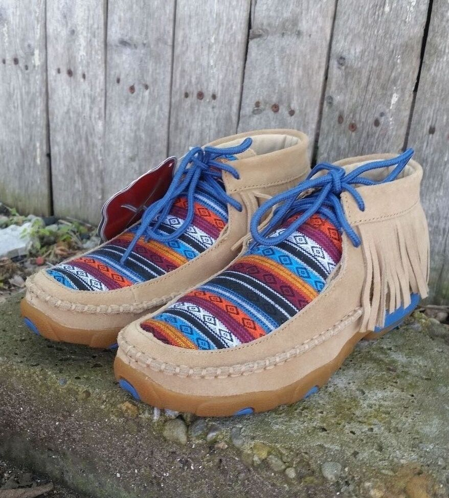 Twisted X Ladies Brown and Serape Fringe Driving Moccasin WDM0064