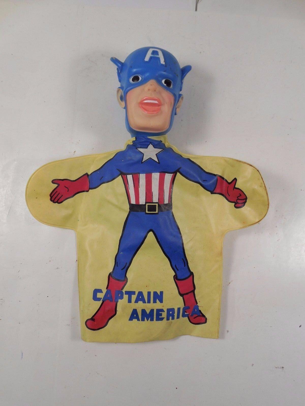 COMPLETE VINTAGE IDEAL MARVEL SUPERHEROES CAPTAIN AMERICA HAND PUPPET 1966