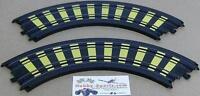Tyco Mattel (2) 9 Radius 1/4 Circle Stripe Deco Curved Slot Car Track B5831y