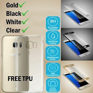 Samsung-Galaxy-S7-Edge-3D-in-vetro-temperato-Screen-Protector-Chiaro-TPU-CASE-COVER