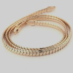 10K-Yellow-Gold-GF-Solid-Snake-Chain-Womens-Ladies-Mens-Necklace-50cm-4mm-Wide