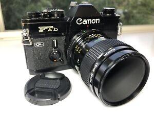 Canon-Ftb-QL-Black-w-Canon-Macro-FD-50mm-f-3-5-SLR-35mm-Film-Camera-From-Japan