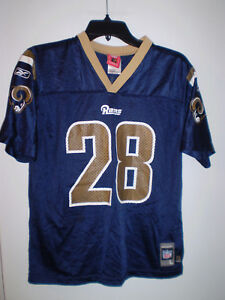 6323fe862 ST LOUIS RAMS Jersey YOUTH L Large 14-16 MARSHALL FAULK  28 Blue ...