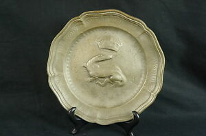 """Superb antique French ? pewter plate 7"""" marked [Y9-W7-A9]"""