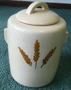 vintage large McCoy ceramic pottery wheat large cookie jar with lid mid century