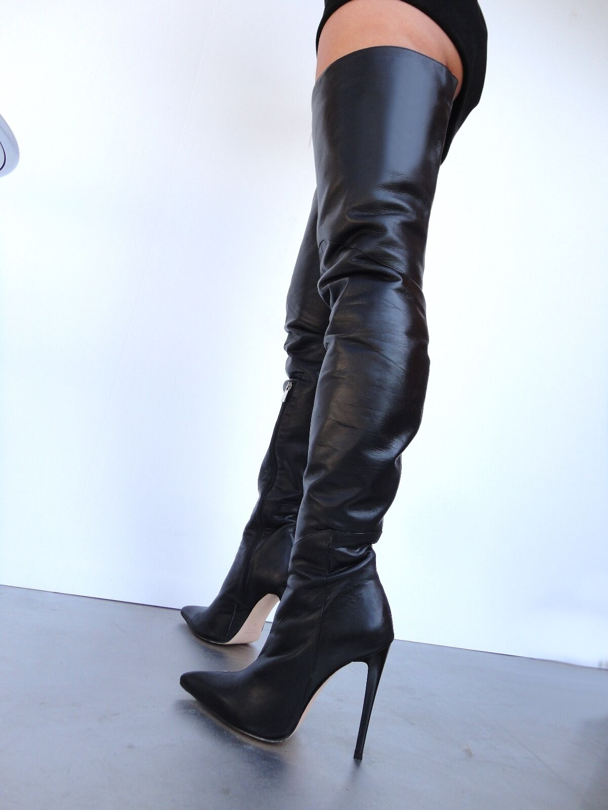 CQ COUTURE CUSTOM LUXURY OVERKNEE BOOTS NERO STIEFEL STIVALI SHOES LEATHER NERO BOOTS 40 5895cc