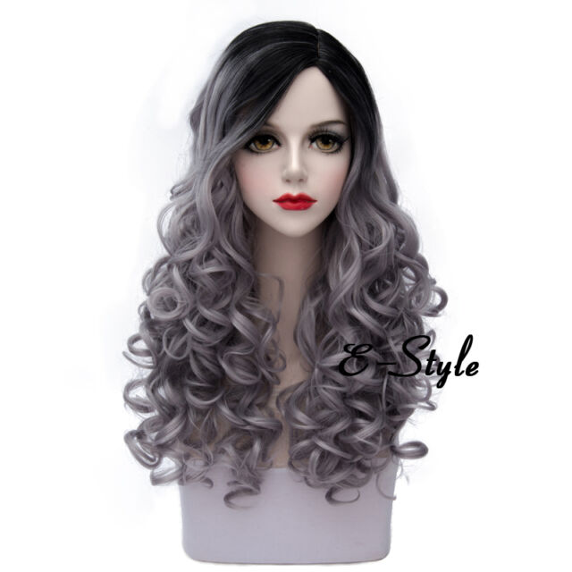 Fashion Long 60CM Curly Gray Mixed Black Women Girls Cosplay Lolita Party Wig