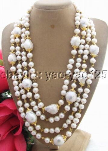 "Blanc Keshi Pearl Collier 4 rangées blanc rond Pearl 18/"""