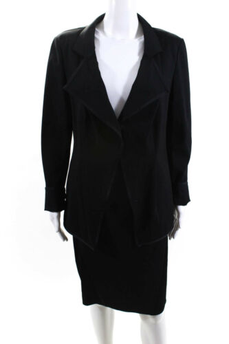 Donna Karan  Womens Mesh Detail Skirt Suit Black S