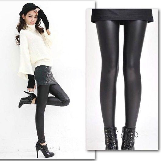 Fashion Women Stretchy Shiny Faux Leather Leggings Black Hot