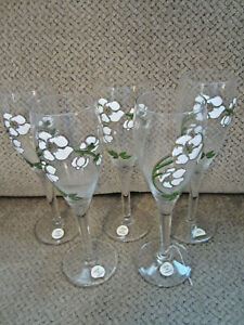 Set-of-5-vintage-France-Perrier-Jouet-hand-painted-champagne-flutes-Belle-Epoque