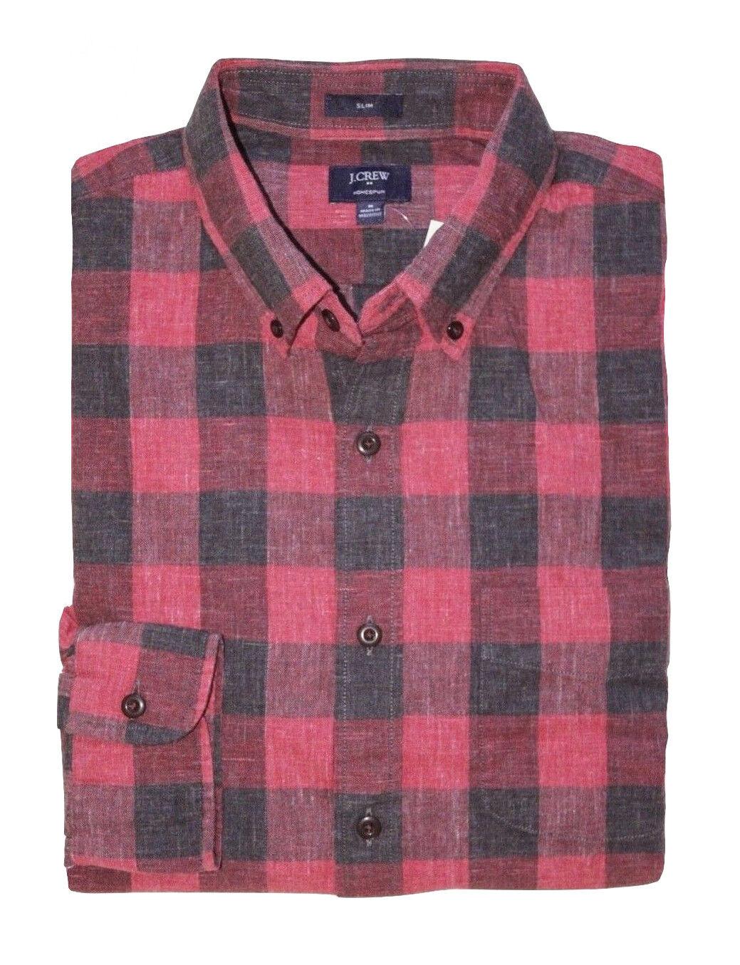 J Crew Factory - Men's XL - Slim Fit - Red Buffalo Plaid Homespun Cotton Shirt