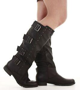 Ladies-Flat-Winter-Biker-Style-Low-Heel-Wide-Calf-High-Leg-Knee-Boots-Size-New