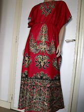 PUR VINTAGE 70  ROBE LONGUE CAFTAN INDIEN /38/40/ BOHO PAISLEY DRESS /