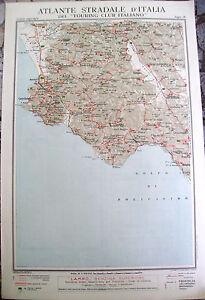 Cilento Cartina Geografica.1920 Carta Geografica Cilento Lagonegro Touring Pollica Laurino Tegiano Ebay