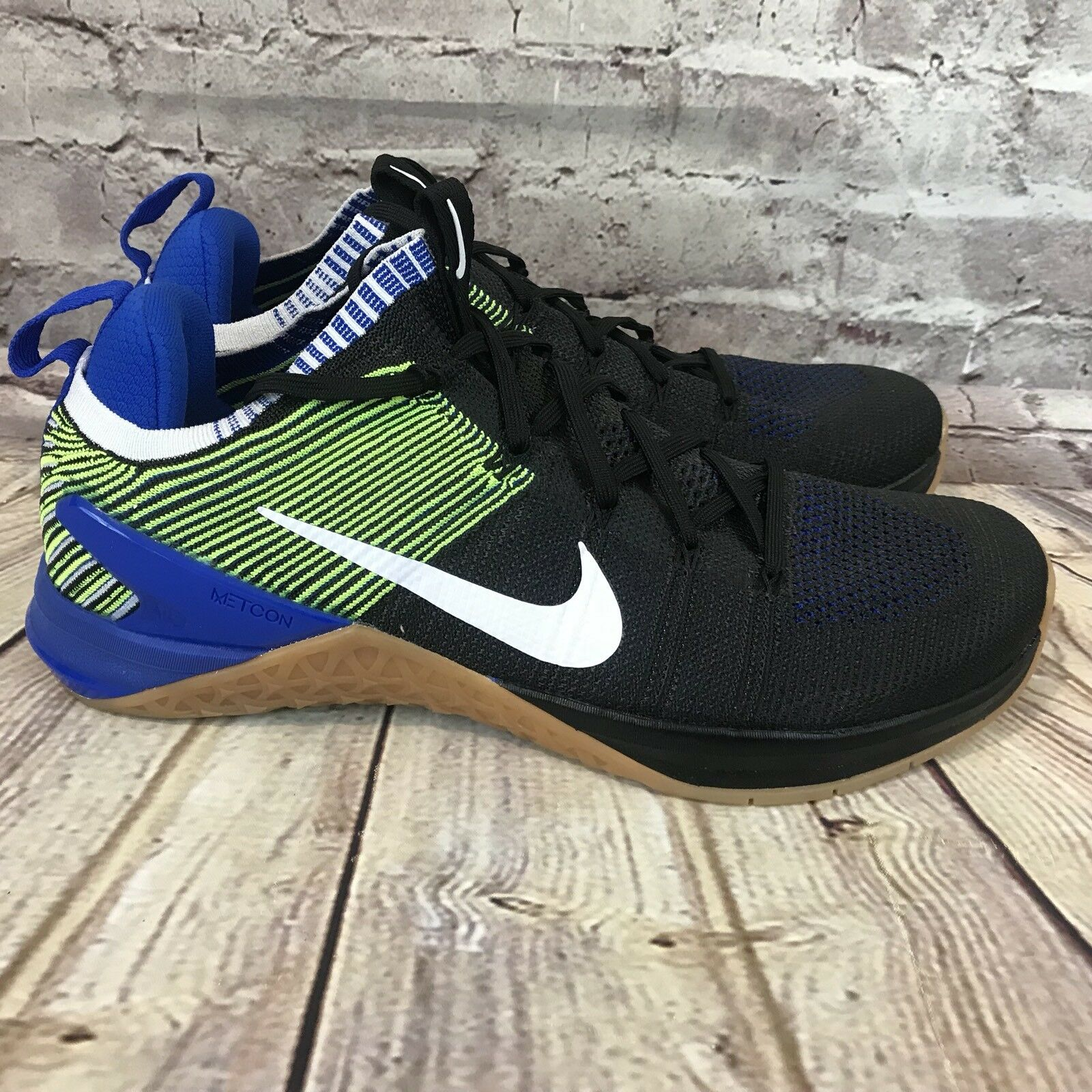 Nike Metcon DSX Flyknit 2 Men Size 11 Sneakers Black blueee Volt 924423-006
