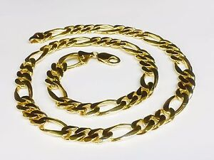 10k solid gold handmade Figaro Curb link mens Chain/Necklace 26 135 grams 12 MM