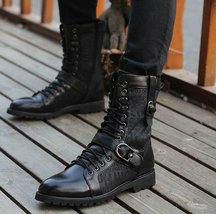 New Mens Casual Combat Buckle Strap biker Punk Military High ankle Boot black