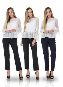 Ladies-Work-Tapered-Leg-Office-Formal-Smart-Womens-Trousers