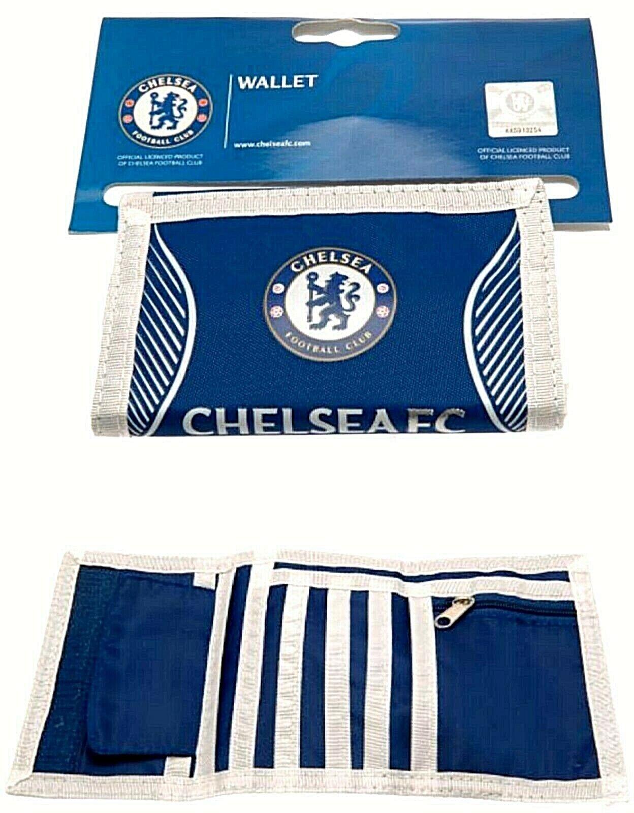 Chelsea FC Offiziell Club Verziert Nylon Tasche Brieftasche Bargeld & Karte CFC