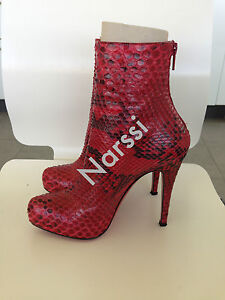 Details About Iconic Christian Louboutin Arielle A Talon Red Python Ankle Boots Sz36 A Rare S
