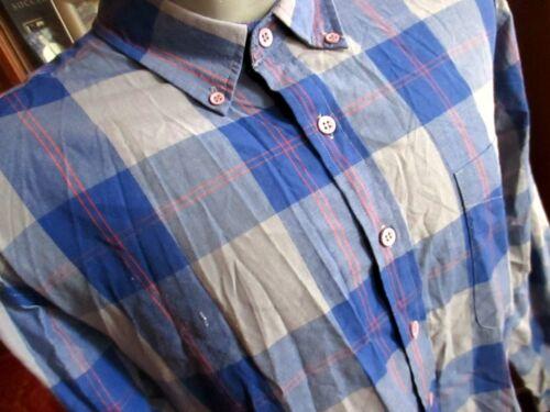 90s Pastel Madras Plaid Button Down Preppy Blouse Shirt Light Blue Purple Lavender Pink Yellow USA Made Pure Cotton Long Sleeve Collar S M