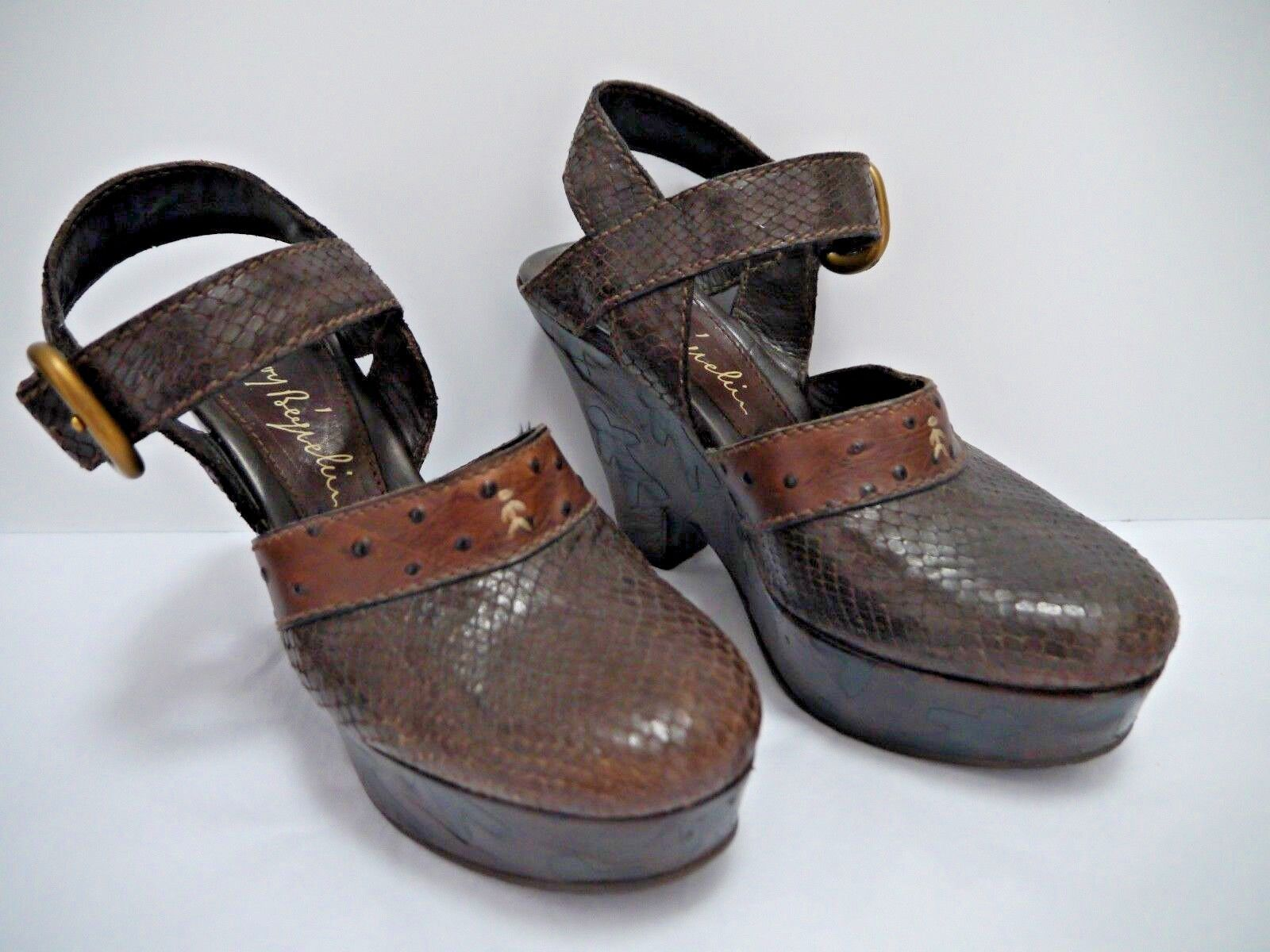 HENRY BEGUELIN brown snake texture leather figure logo wedge heels clogs size 37