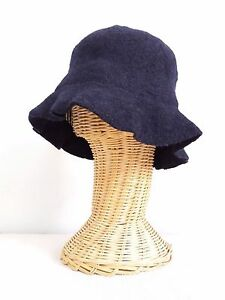 BRAND NEW LADIES NAVY MELTON WOOL WINTER CLOCHE STYLE HAT HEATHER