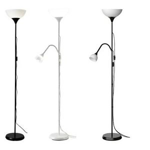 Ikea Not Tall Floor Standing Lamp Black White Reading Light