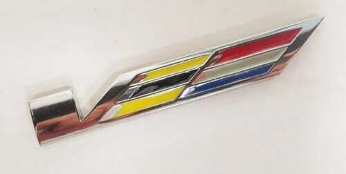 USA Cadillac V STYLE EMBLEM METAL CHROME W// MULTI COLOR INSERTS