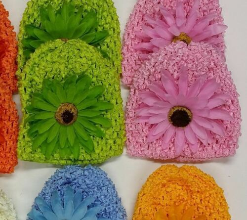 LOT OF 12 DAISY KUFI HATS FLOWER BEANIE CROCHET INFANT BABY GERBERA DRESSY CAP