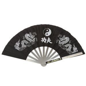 Steel-Frame-amp-Fabric-Folding-Chinese-Kung-Fu-Martial-Arts-Tai-Chi-Dragon-Fan
