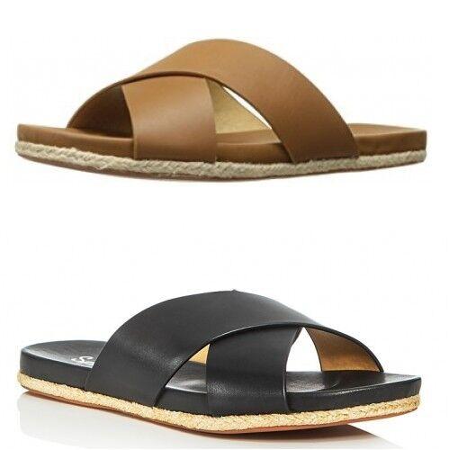 NIB SPLENDID  Jenni Slide Sandals Crossover Straps nero Cognac 9.5  solo per te