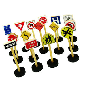 15-Pieces-WOODEN-TRAFFIC-ROAD-SIGNS-Educational-Toys-Kids-Pretend-Play-Toys