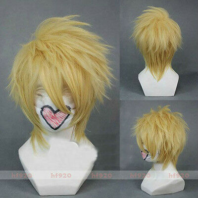 New! Toma AMNESIA Blonde Short Party Fluffy Cosplay wig + free wig cap