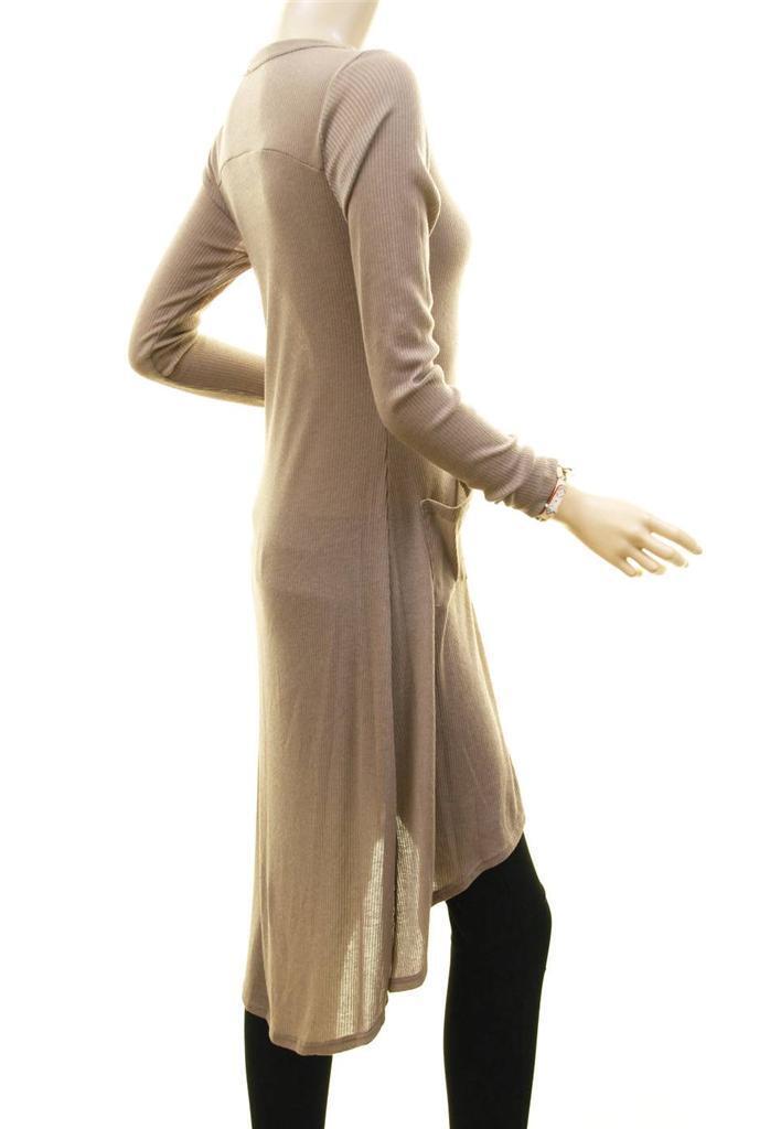 Women Khaki Hi-Lo Button Up Long Tunic Dress Peasant Sweater Cardigan Top S M L