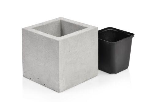 Beske-usine béton pot de fleurs 13x13x13 Incl innentopf à la main pièce unique