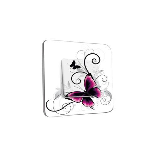 Interrupteur Décoré Simple Va et Vient INTER-S-181 Papillon Design White Ref