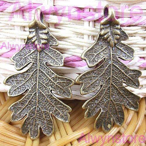 48pcs 48x26mm antiqued bronze  leaf charm pendants  G2